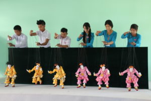 Burmese marionettes with first year students at the National University of Arts and Culture
